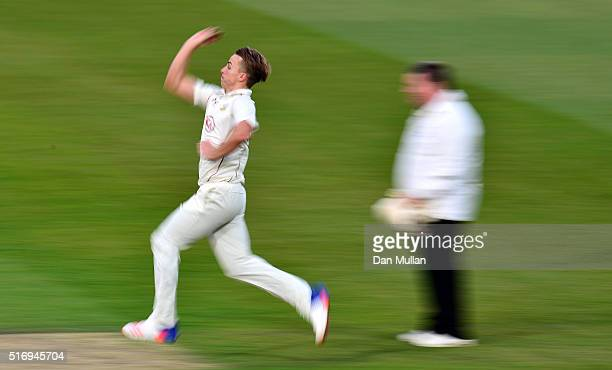 Tom Curran of Surrey bowls during day one of the preseason friendly between Surrey and Middlesex at The Kia Oval on March 22 2016 in London England