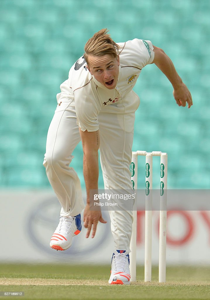 Tom Curran of Surrey bowls during day two of the Specsavers County Championship Division One match between Surrey and Durham at the Kia Oval on May 2, 2016 in London, England.