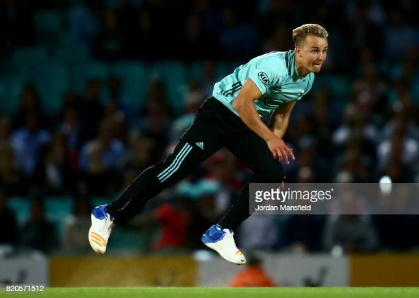 Tom Curran of Surrey bowls during the NatWest T20 Blast Surrey and Middlesex at The Kia Oval on July 21 2017 in London England