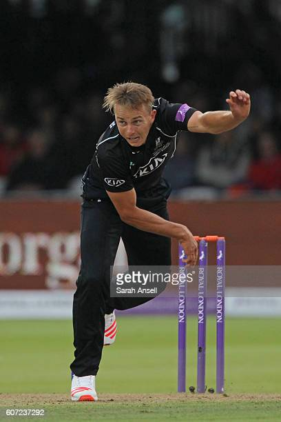 Tom Curran of Surrey bowls during the Royal London OneDay Cup Final match between Surrey and Warwickshire at Lord's Cricket Ground on September 17...