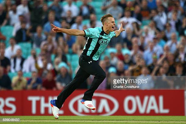 Tom Curran of Surrey celebrates after bowling out Liam Dawson of Hampshire during the NatWest T20 Blast match between Surrey and Hampshire at The Kia...