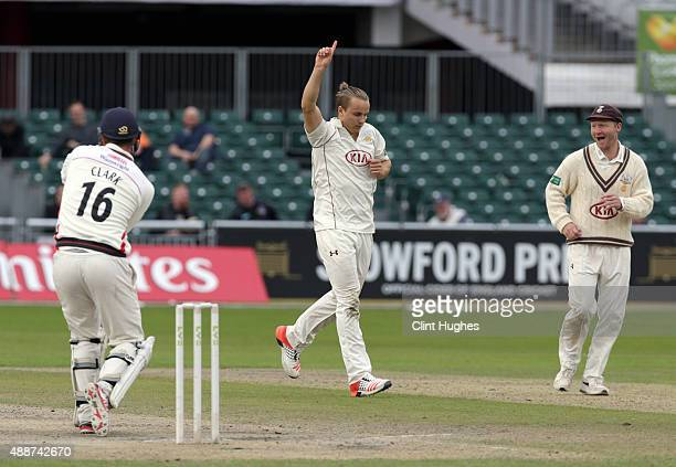 Tom Curran of Surrey celebrates after he takes the wicket of Lancashire's Jordan Clark during day four of the LV County Championship Division Two...