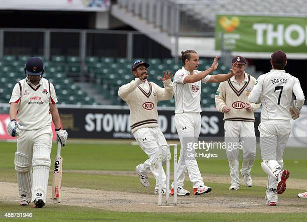 Tom Curran of Surrey celebrates after he takes the wicket of Lancashire's Karl Brown during day four of the LV County Championship Division Two match...