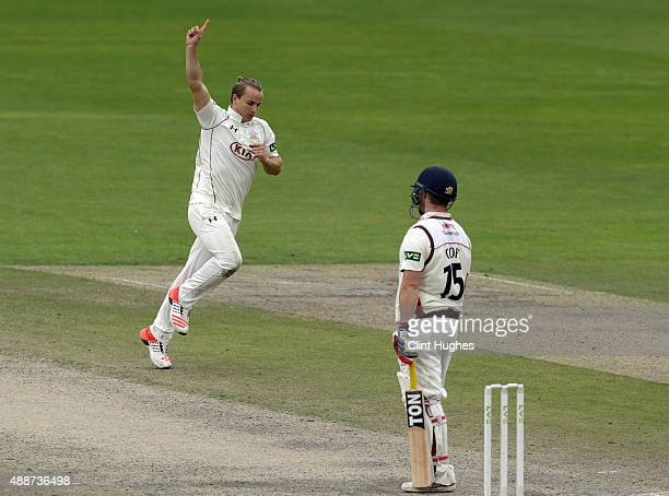 Tom Curran of Surrey celebrates after he takes the wicket of Lancashire's Steven Croft during day four of the LV County Championship Division Two...