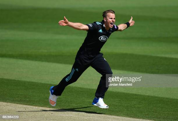 Tom Curran of Surrey celebrates dismissing Rilee Rossouw of Hampshire during the Royal London OneDay Cup match between Surrey and Hampshire at The...