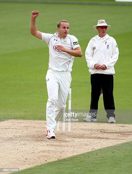 Tom Curran of Surrey celebrates his fifth wicket of the innings on day two of the LV County Championship Division Two match between Surrey and...