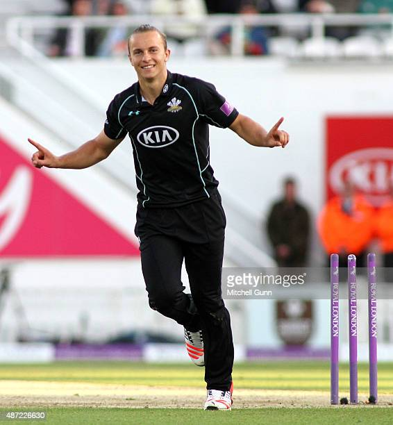 Tom Curran of Surrey celebrates running out Greg Smith of Notts during the Royal London One Day Cup semifinal match between Surrey and...