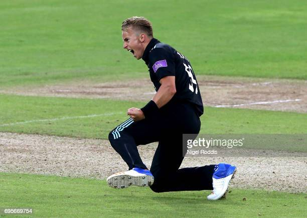 Tom Curran of Surrey celebrates taking the wicket of Gary Ballance of Yorkshire Vikings during the Royal London OneDay Cup Play Off between Yorkshire...