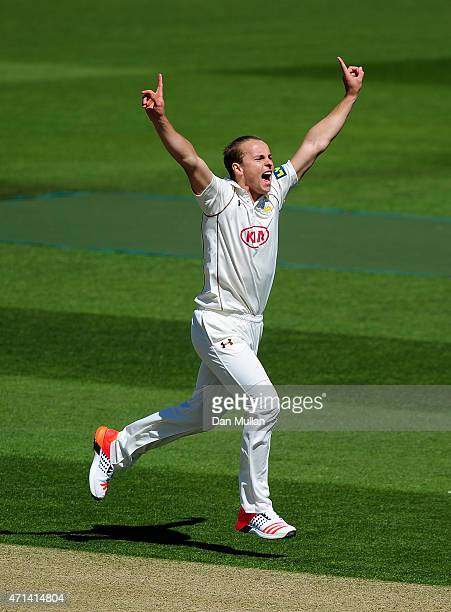 Tom Curran of Surrey celebrates taking the wicket of James Foster of Essex during day three of the LV County Championship Division Two match between...