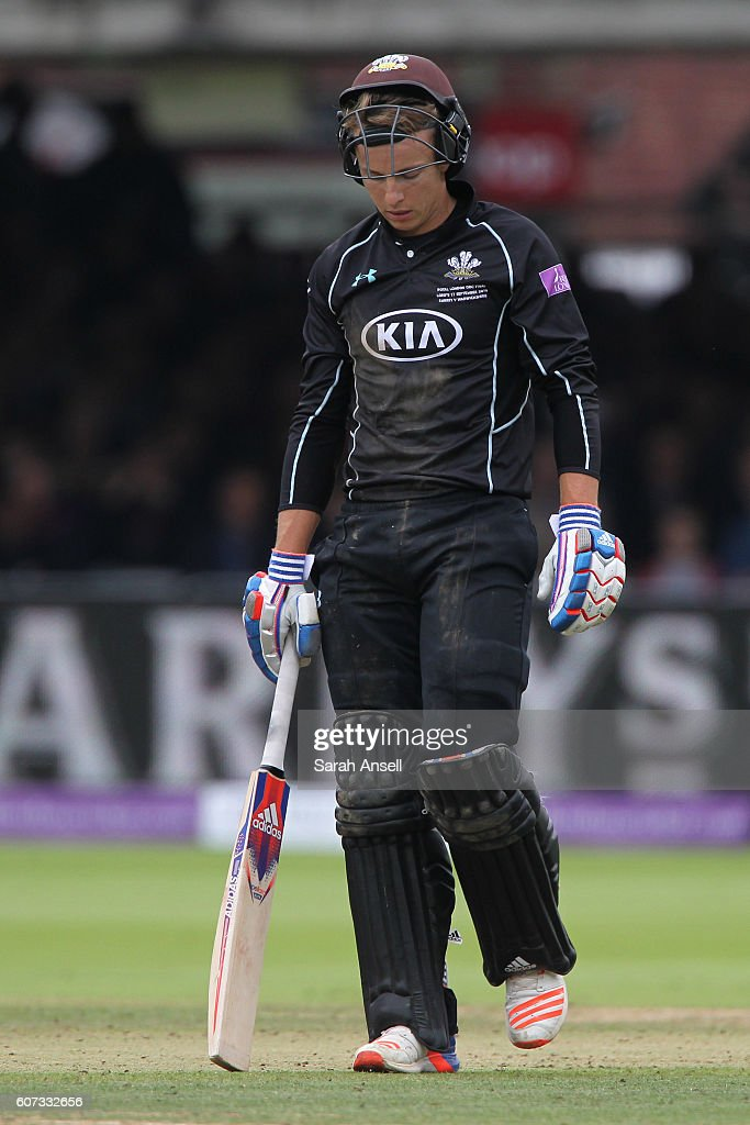 Tom Curran of Surrey cuts a dejected figure as he walks from the field after being run out during the Royal London One-Day Cup Final match between Surrey and Warwickshire at Lord's Cricket Ground on September 17, 2016 in London, England. (Photo by Sarah Ansell/Getty Images).