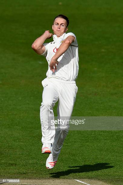 Tom Curran of Surrey in action during a friendly match between Sussex and Surrey at BrightonandHoveJobscom County Ground on March 29 2016 in Hove...
