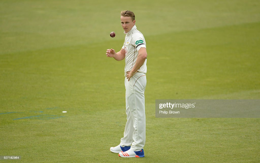 Tom Curran of Surrey looks on during day two of the Specsavers County Championship Division One match between Surrey and Durham at the Kia Oval on May 2, 2016 in London, England.