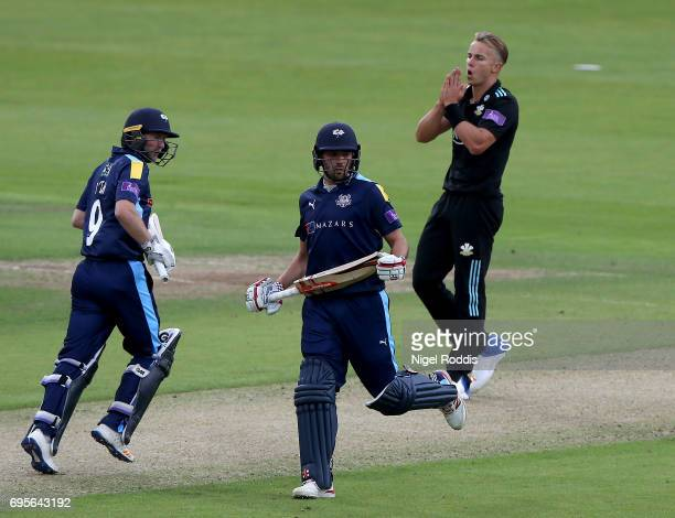 Tom Curran of Surrey reacts during the Royal London OneDay Cup Play Off between Yorkshire Vikings and Surrey at Headingley on June 13 2017 in Leeds...