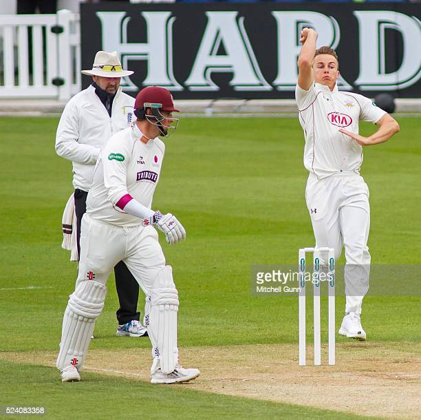 Tom Curran of Surrey runs in to bowl during the Specsavers County Championship Division One match between Surrey and Somerset at the Lords Cricket...