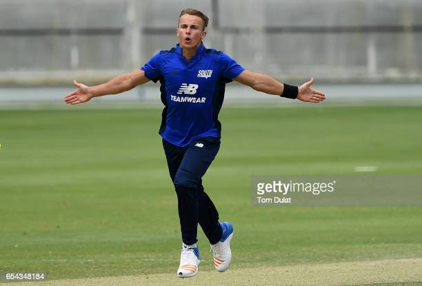 Tom Curran of The South celebrates the wicket of Joe Clarke of The North during Game One of the ECB North versus South Series at Dubai International...