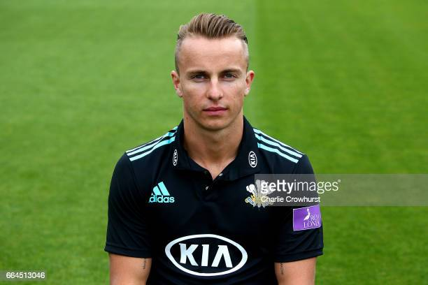 Tom Curran poses in the Royal London OneDay Cup kit during the Surrey CCC Photocall at The Kia Oval on April 4 2017 in London England
