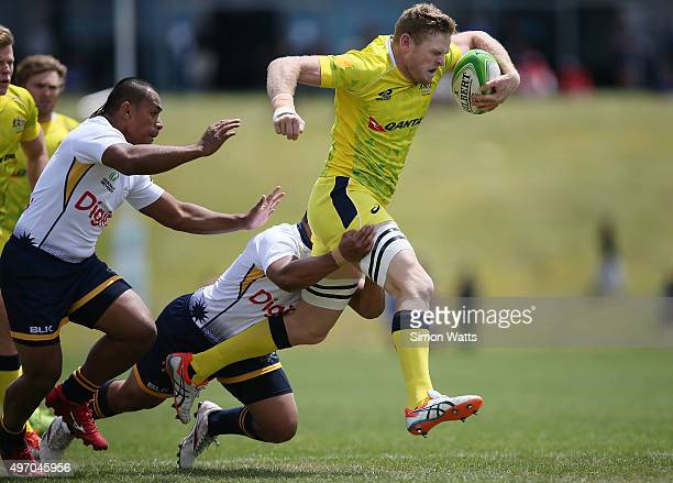 Tom Cusack of Australia in action during the World Sevens Oceania Olympic Qualification match between Australia and Nauru on November 14 2015 in...