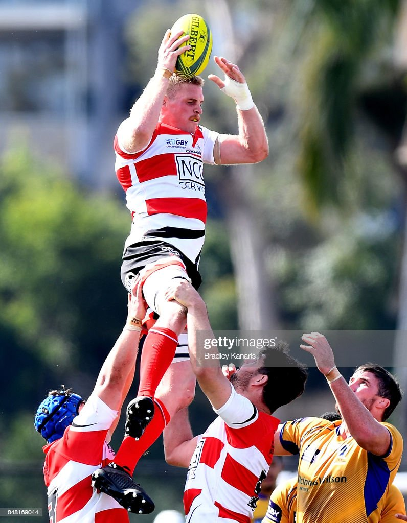 Tom Cusack of the Vikings competes at the lineout during the round three NRC match between Brisbane and Canberra at the University of Queensland on September 17, 2017 in Brisbane, Australia.
