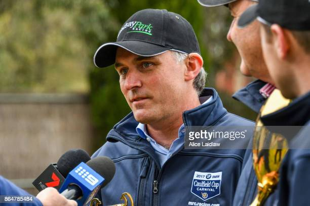Tom Dabernig after winning the Caulfield Cup at Caulfield Racecourse on October 22 2017 in Caulfield Australia