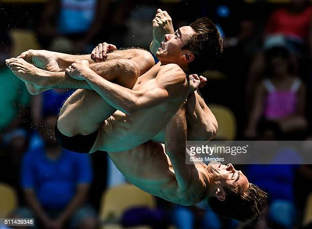 Tom Daley and Daniel Goodfellow of Great Britain compete in the men's 10m synchro platform Preliminary during the 2016 FINA Diving World Cup at Maria...