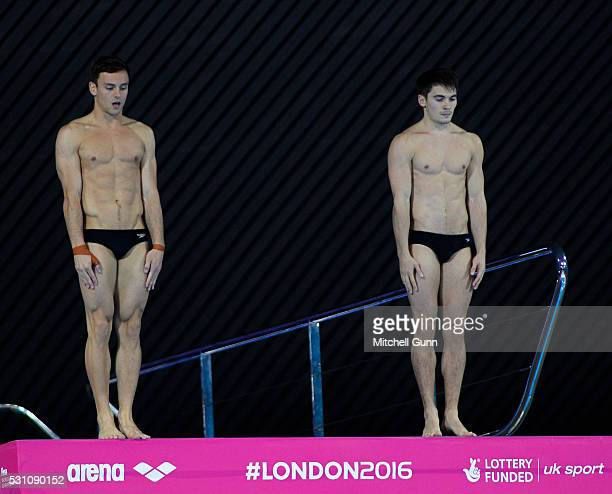Tom Daley and Daniel Goodfellow of Great Britain compete in The Men's 10m Synchro Final on day four of the LEN European Swimming Championships at the...
