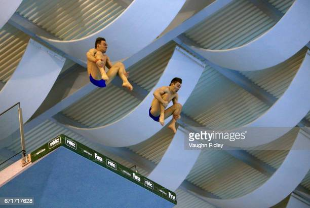 Tom Daley and Daniel Goodfellow of Great Britain compete in the Men's 10m Synchro Final during the 2017 FINA Diving World Series at the Windsor...