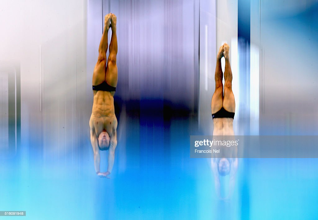 Tom Daley and Daniel Goodfellow of Great Britain dives in the Men's 10m Synchro Platform Final during day one of the FINA/NVC Diving World Series 2016 at the Hamdan Sports Complexon March 17, 2016 in Dubai, United Arab Emirates.