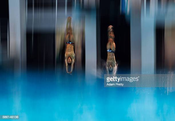 Tom Daley and Daniel Goodfellow of Great Britain in action during synchronised diving training at the Maria Lenk Aquatics Centre in Rio de Janerio on...