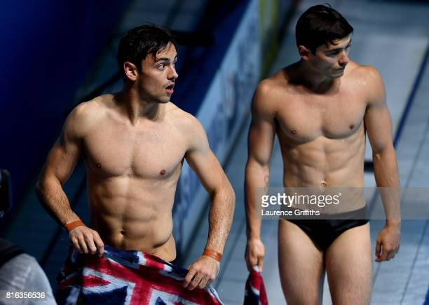 Tom Daley and Daniel Goodfellow of Great Britain look on after coming in fourth place during the Men's Diving 10M Synchro Plaform final on day four...