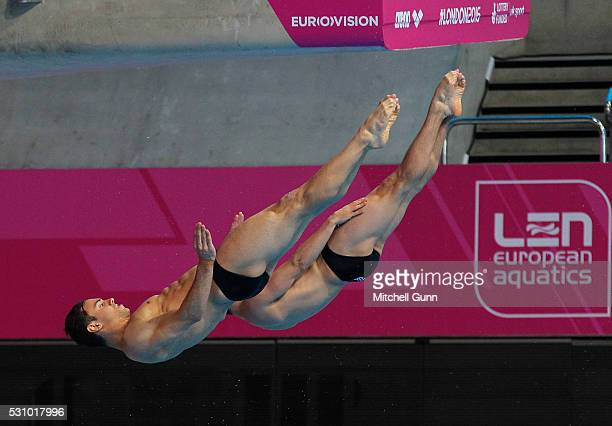 Tom Daley and Daniel Goodfellow of Great Britain take a practice dive before The Men's 10m Synchro Final on day four of the LEN European Swimming...