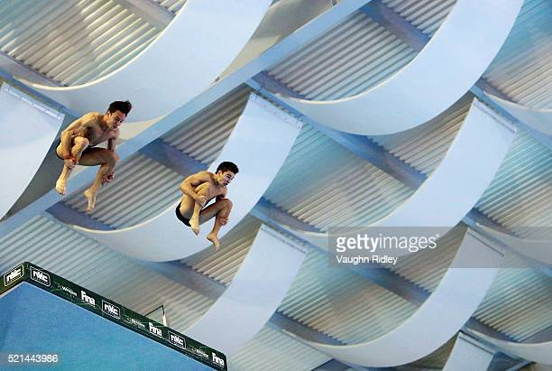 Tom Daley and Daniel Goodfellow of Great Britain win Silver in the Men's 10m Synchro Final during Day One of the FINA/NVC Diving World Series 2016 at...