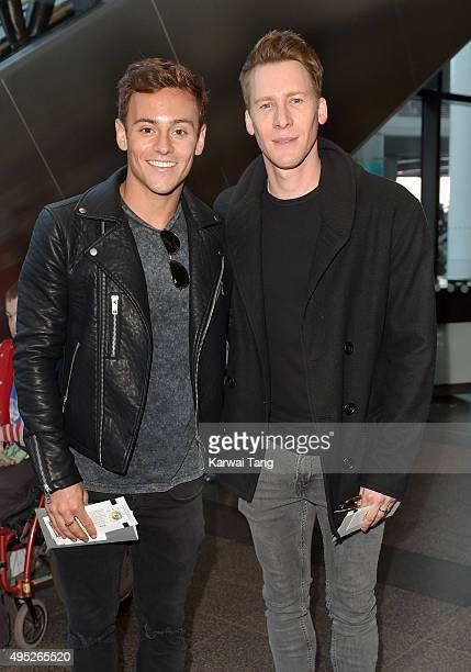 Tom Daley and Dustin Lance Black attend the Detroit Lions v Kansas City Chiefs NFL International Series Match at Wembley Stadium on November 1 2015...