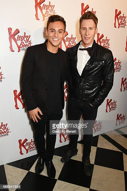 Tom Daley and Dustin Lance Black attend the Kinky Boots after party on opening night at The Grand Connaught Rooms on September 15 2015 in London...