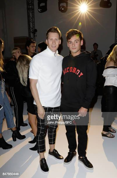 Tom Daley and Dustin Lance Black attend the Nicopanda show during London Fashion Week September 2017 on September 16 2017 in London England