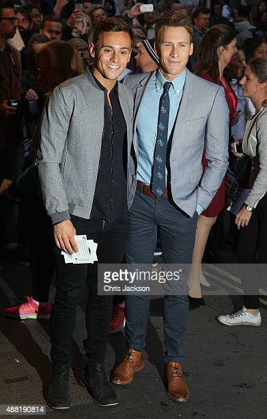 Tom Daley and Dustin Lance Black attend the press night of 'Photograph 51' at Noel Coward Theatre on September 14 2015 in London England