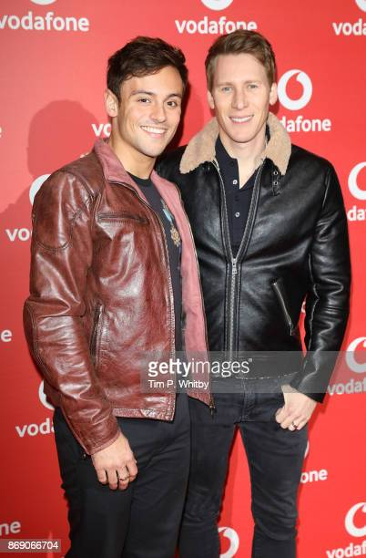 Tom Daley and Dustin Lance Black attend the Vodafone Passes Launch held at The Bankside Vaults on November 1 2017 in London England