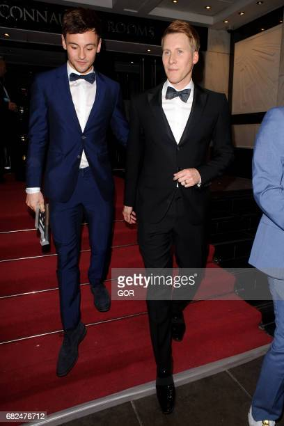 Tom Daley and Dustin Lance Black leaving the LGBT Awards in Covent Garden on May 12 2017 in London England