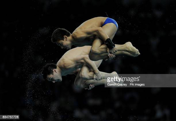 Tom Daley and his partner Blake Aldridge take part in the Men's Synchronised 10m Platform Finals in the National Aquatics Centre during the 2008...