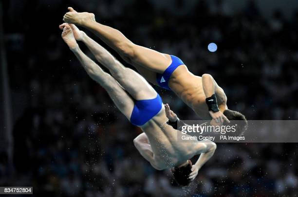 Tom Daley and his partner Blake Aldridge take part in the Men's Synchronized 10m Platform Finals in the National Aquatics Centre during the 2008...