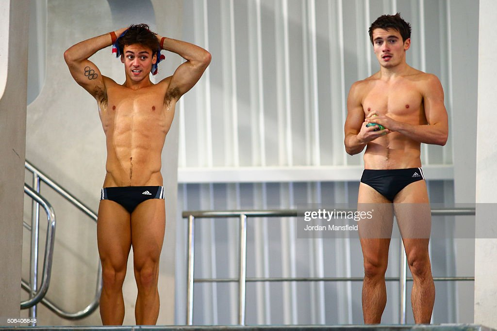 Tom Daley (L) and partner Daniel Goodfellow (R) of Great Britain look on during a practice session during Day Two of the National Diving Cup on January 23, 2016 in Southend, England.