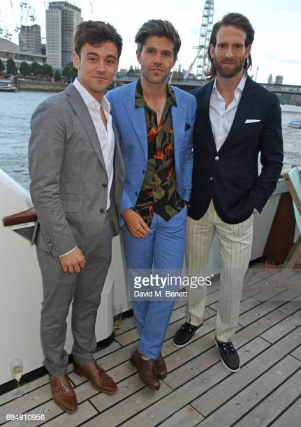 Tom Daley Darren Kennedy and Craig McGinlay attend the Henley Royal Regatta and their official partner Hackett London launch event during LFWM aboard...