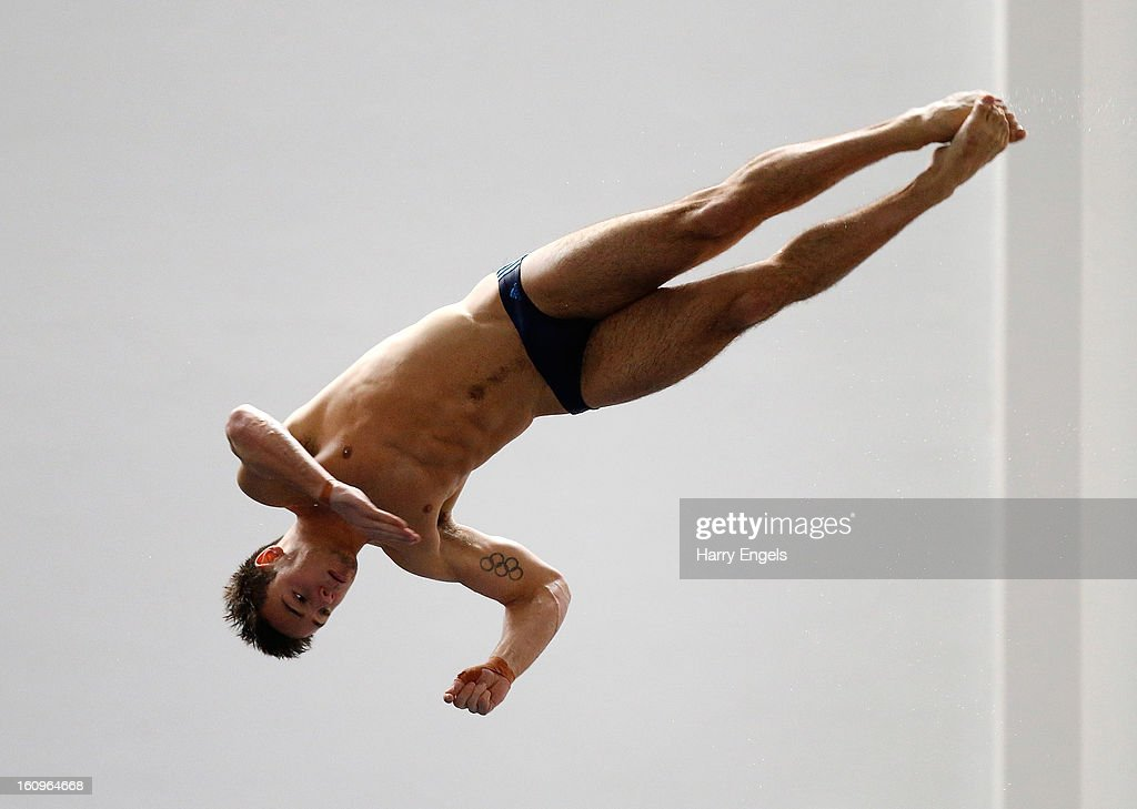 Tom Daley dives during practice on day 1 of the British Gas Diving Championships on February 8, 2013 in Plymouth, England.