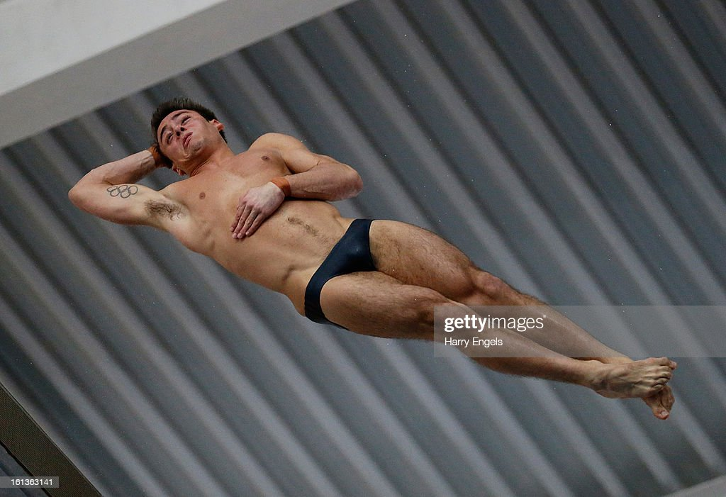 <a gi-track='captionPersonalityLinkClicked' href=/galleries/search?phrase=Tom+Daley+-+Diver&family=editorial&specificpeople=2652461 ng-click='$event.stopPropagation()'>Tom Daley</a> dives during the Men's 10m final on day three of the British Gas Diving Championships on February 10, 2013 in Plymouth, England.