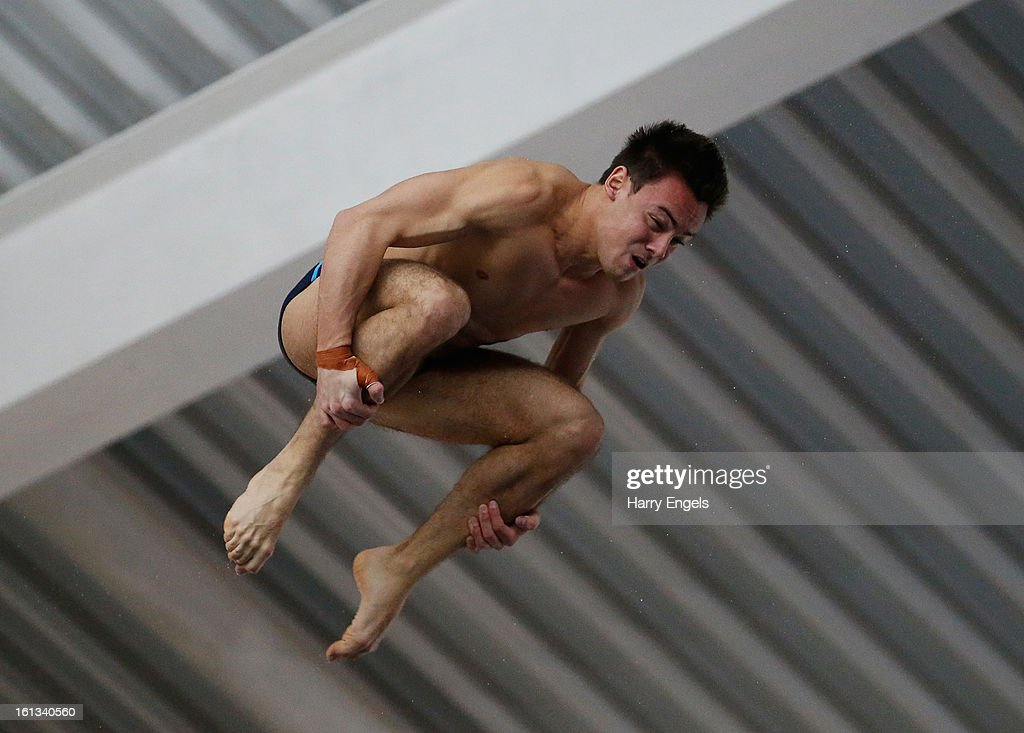 <a gi-track='captionPersonalityLinkClicked' href=/galleries/search?phrase=Tom+Daley+-+Diver&family=editorial&specificpeople=2652461 ng-click='$event.stopPropagation()'>Tom Daley</a> dives during the Men's 10m preliminary round on day three of the British Gas Diving Championships on February 10, 2013 in Plymouth, England.