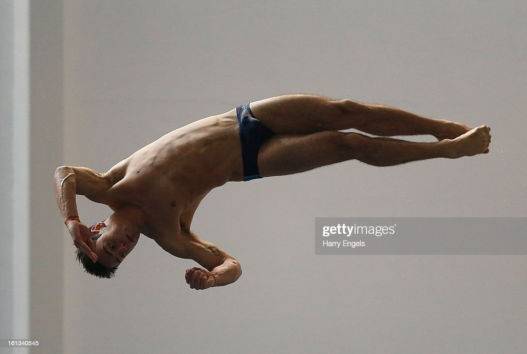 Tom Daley dives prior to the Men's 10m preliminary round on day three of the British Gas Diving Championships on February 10, 2013 in Plymouth, England.