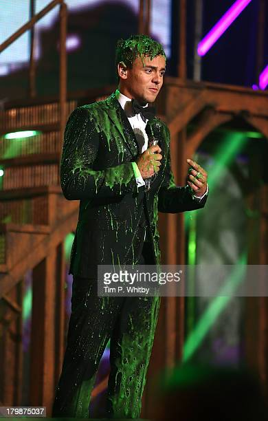 Tom Daley gets slimed at the Nickelodeon Fruit Shoot Skills Awards 2013 at the IndigoO2 on September 7 2013 in London England