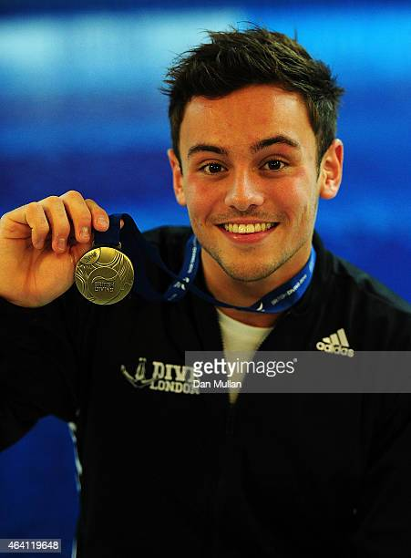 Tom Daley of Dive London Aquatic Centre poses with his gold medal after winning the Mens Platform Final during Day Three of the British Gas Diving...