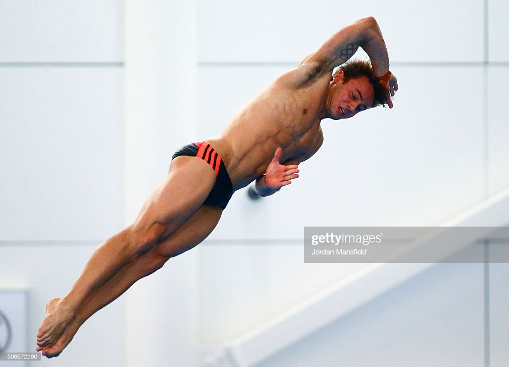 Tom Daley of Dive London Aquatics Club competes in the Men's Platform during Day Three of the National Diving Cup on January 24, 2016 in Southend, England.