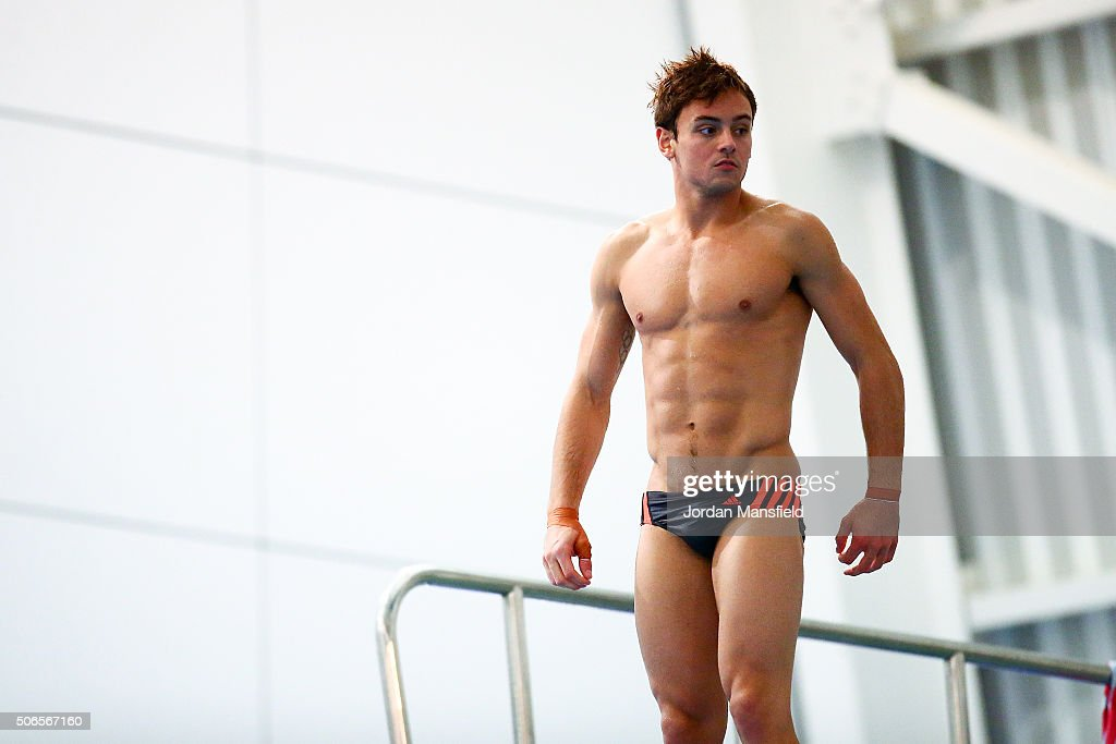 Tom Daley of Dive London Aquatics Club looks on during a practice session during Day Three of the National Diving Cup on January 24, 2016 in Southend, England.
