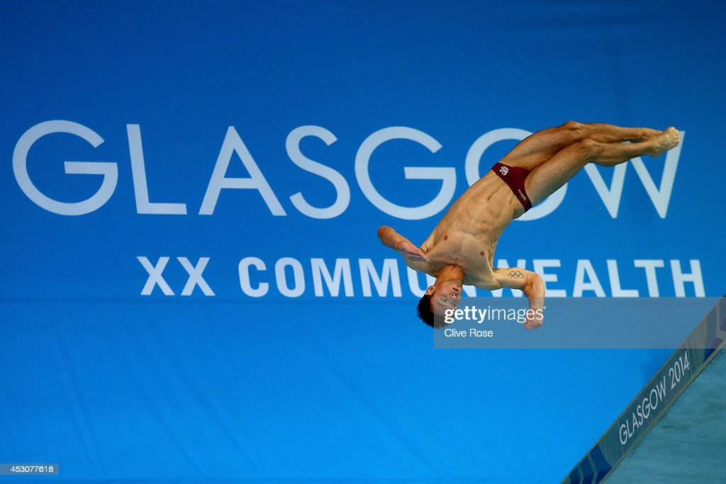 <a gi-track='captionPersonalityLinkClicked' href=/galleries/search?phrase=Tom+Daley+-+Diver&family=editorial&specificpeople=2652461 ng-click='$event.stopPropagation()'>Tom Daley</a> of England attempts the second dive of his six during the Men's 10m Platform Final at the Royal Commonwealth Pool during day ten of the Glasgow 2014 Commonwealth Games on August 2, 2014 in Edinburgh, United Kingdom.